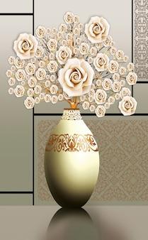 3d illustratie vazen gouden boom van bloemen en lichte achtergrond canvas kunst voor muur frame