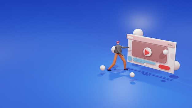 3d illustratie video-website in browservenster.