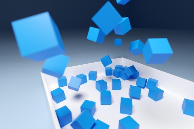 3d illustratie volumetrische blauwe kubussen die in doos vallen