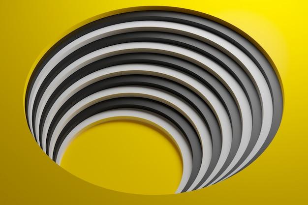 3d illustratie volumetrische gele en witte shipe, bal op een geometrische monofone achtergrond.