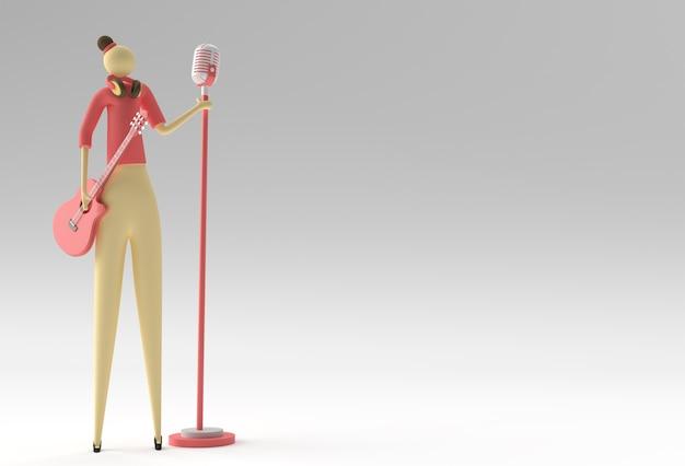 3d illustratie vrouw zanger met een gitaar en microfoon cartoon 3d render design.