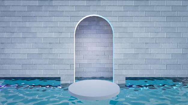 3d illustratie weergave. grijze bakstenen muur met een boog met blauwe waterbodem en cirkelpodiumtribune. afbeelding voor presentatie.