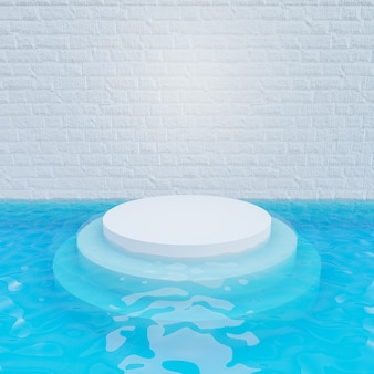 3d illustratie weergave. witte bakstenen muur met wit stappodium in blauwe waterbodem. afbeelding voor presentatie.