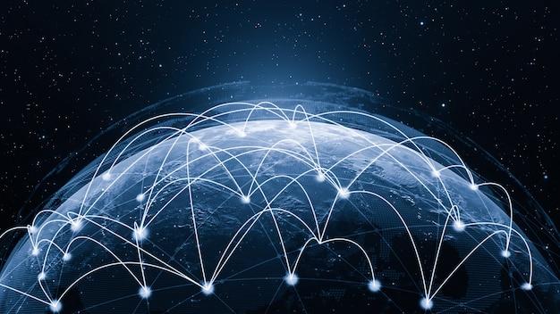 3d illustratie wereldwijde moderne creatieve communicatie en internet netwerkkaart