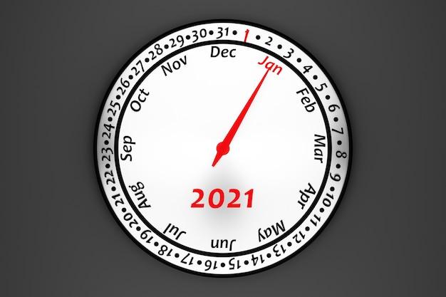 3d illustratie witte ronde klokkalender met 12 maanden, 31 dagen en het jaar 2021 op zwarte achtergrond.
