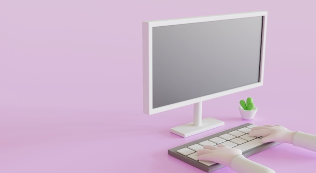 3d-illustratiecartoons die een computer gebruiken om thuis te werken of online onderwijs te leren terwijl ze in quarantaine worden geplaatst door een virusuitbraak covid-19.