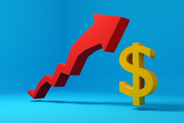 3d-illustratiegrafiek van de stijging van de dollar