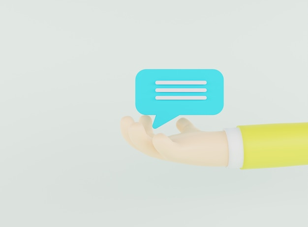 3d illustratiehand die blauwe praatjebel op lichtgroene achtergrond houdt