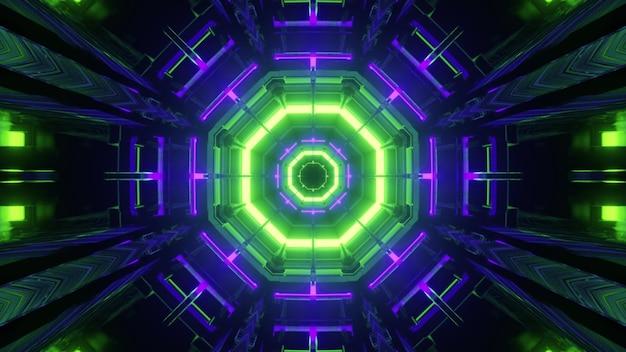 3d-illustratiesamenvatting met achthoekige kleurrijke neonlijnen die binnenkant van donkere virtuele tunnel glanzen