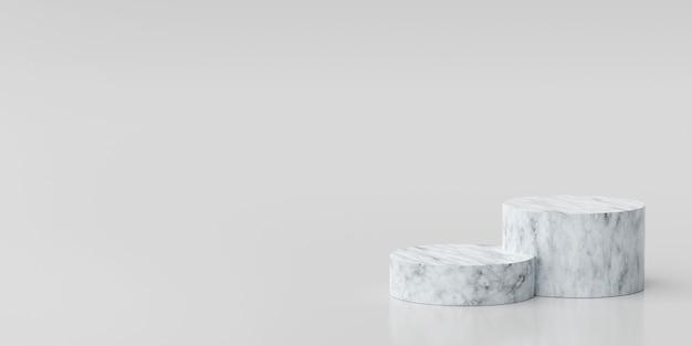 3d-illustratiescène van minimaal marmeren geometrisch vormpodium voor productreclame