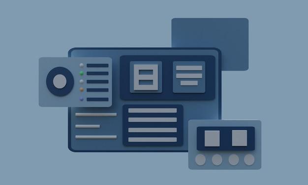3d-illustratiewebsite met donkerblauwe platte gegevens en 3 objecten