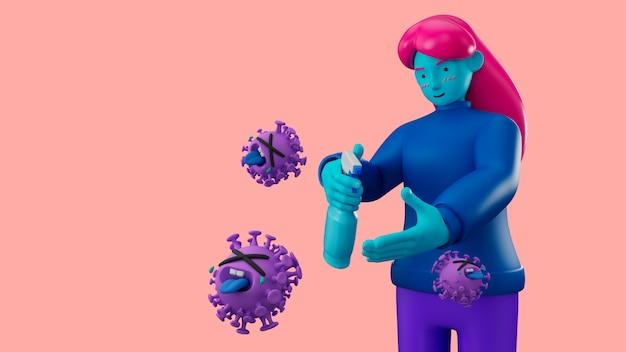3d illustreer stripfiguur met behulp van een reinigingsgel voor alcoholgel ter bescherming van griep en coronavirus covid-19.