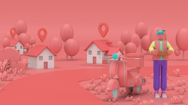 3d illustreren. snelle en gratis levering per scooter voor mobiele e-commerce concept voor foodservice. online voedselbestelling grafische webpagina, app-ontwerp, levering aan huis en op kantoor magazijn