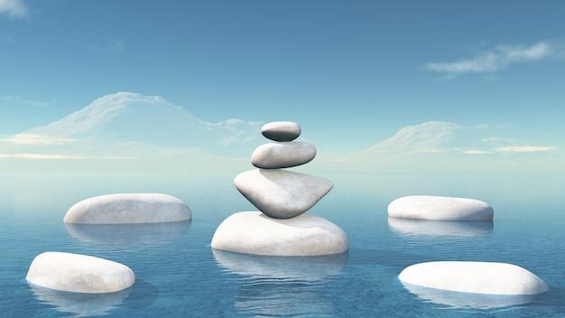 3d in evenwicht brengende kiezelstenen in de oceaan