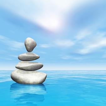 3d in evenwicht brengende kiezelstenen in oceaan