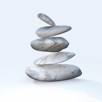 3d in evenwicht brengende kiezelstenen op een duidelijke achtergrond