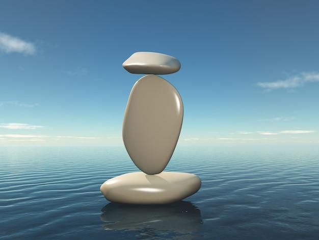 3d in evenwicht brengende zen kiezels