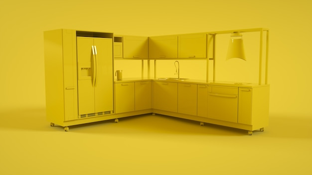 3d-interieur van de keuken op geel. 3d-weergave.