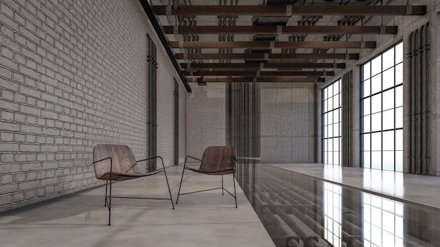 3d interieurweergave van visualisatie in de woonkamer