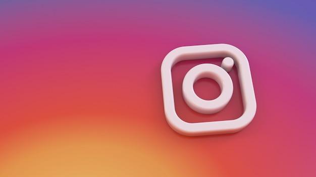 3d-irenderiing van minimalistisch instagram-logo op een kleurrijke achtergrond met kleurovergang