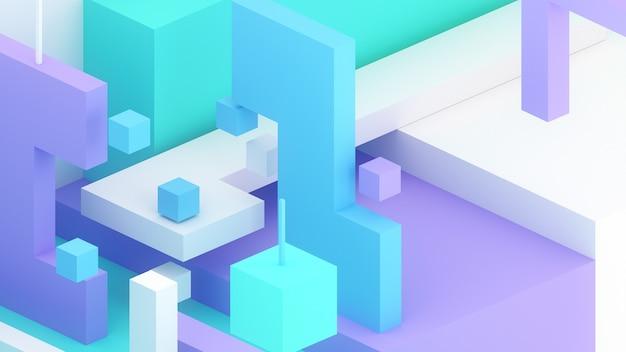 3d isometrische illustratie renderen kubussen