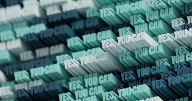 3d ja, dat kan! abstracte typografische 3d belettering achtergrond. modern helder trendy motievenwoordpatroon in munt, blauwe, donkerblauwe en grafietkleuren. eigentijdse omslag en achtergrond