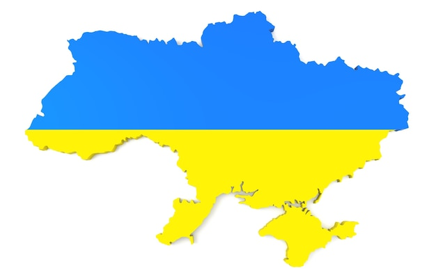 3d-kaart van oekraïne in oekraïense vlagkleuren