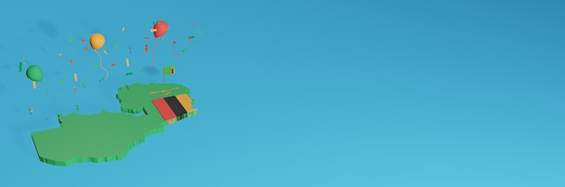 3d-kaartweergave gecombineerd met de vlag van zambia voor sociale media en toegevoegde website-achtergrondomslag rood groen zwart gele ballonnen om de onafhankelijkheidsdag en nationale winkeldag te vieren