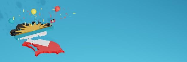 3d-kaartweergave van antiqua barbuda-vlag voor sociale media en omslagwebsite