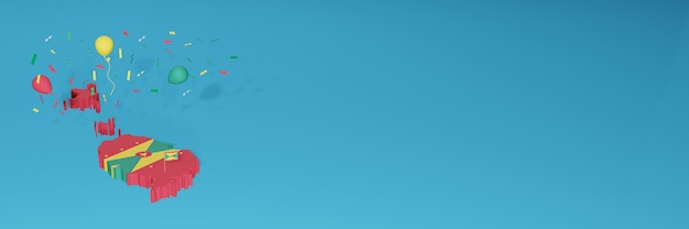 3d-kaartweergave van de vlag van grenada voor sociale media en omslagwebsite