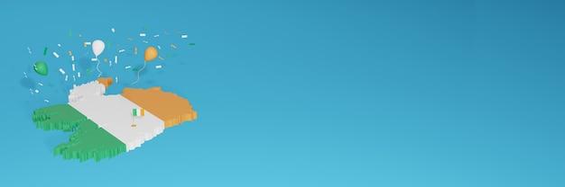 3d-kaartweergave van de vlag van ierland voor sociale media en omslagwebsite