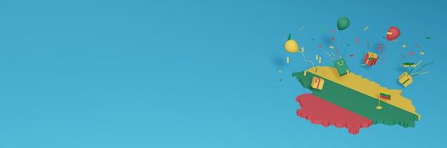 3d-kaartweergave van de vlag van litouwen om de nationale winkeldag en onafhankelijkheidsdag te vieren