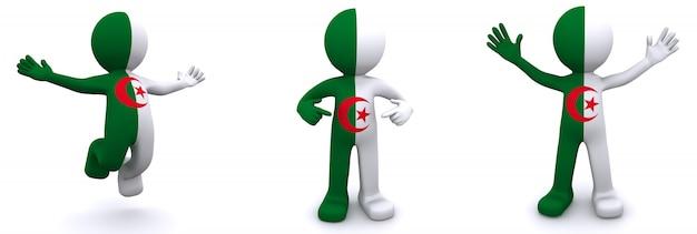 3d karakter geweven met vlag van algerije