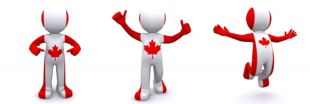 3d karakter geweven met vlag van canada