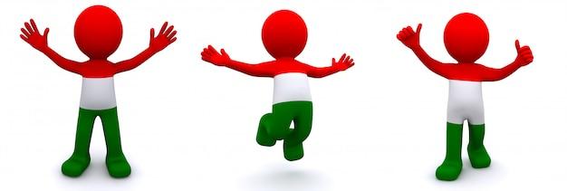 3d karakter geweven met vlag van hongarije dat op wit wordt geïsoleerd