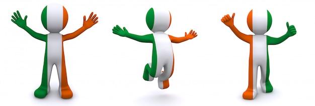 3d karakter geweven met vlag van ierland