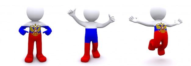 3d karakter geweven met vlag van rusland