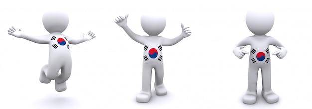 3d karakter geweven met vlag van zuid-korea