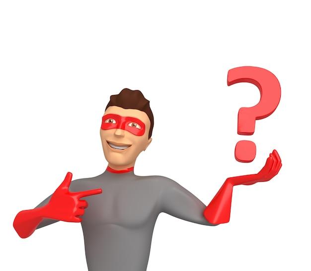 3d karakter in een superherokostuum op een witte achtergrond, die vraagtekens houden op zijn hand. 3d illustratie