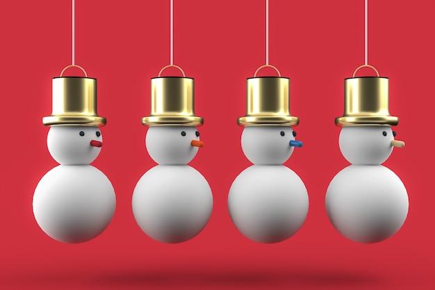 3d kerst briefkaart behang met sneeuwpop vier. vrolijk kerstfeest concept.