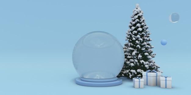 3d kerst en nieuwjaar podium winter sneeuw bedekt kerstboom geschenkdoos en kristallen bol