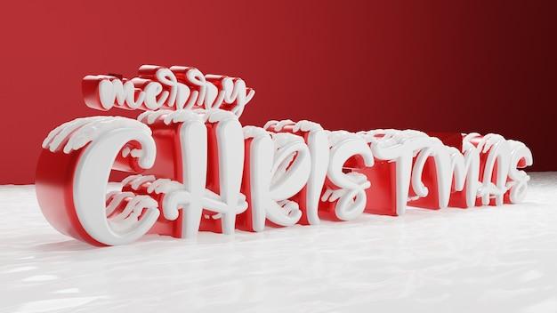 3d-kerst met rode achtergrond