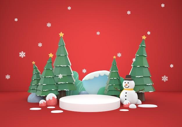 3d kerst mis rode scèneachtergrond met geschenkdozen