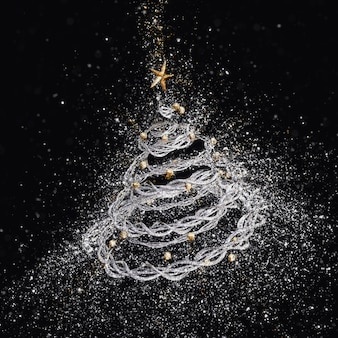 3d kerstboom met exploderende glitter effect