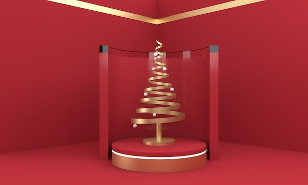 3d kerstkaart behang. kerstboom op een scenario