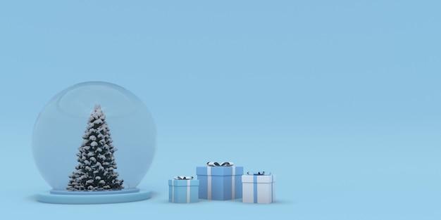 3d kerstmis en nieuwjaar achtergrond met podium kerstboom geschenkdoos en kristallen bol template