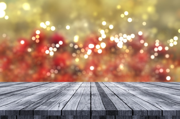 3d kerstmisachtergrond met houten lijst die uit aan bokehlichten kijkt
