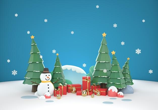 3d kerstmisscène achtergrond met geschenkdoos