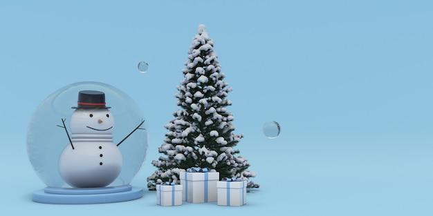 3d kerstnieuwjaar achtergrond sneeuw bedekt kerstboom geschenkdoos en kristallen bol met sneeuwpop