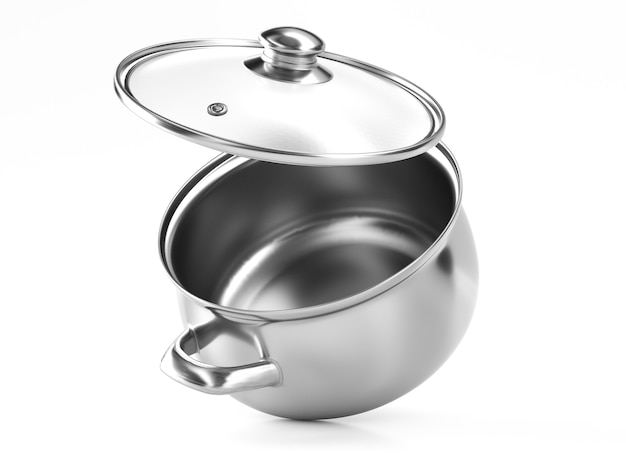 3d keukenpanconcept. 3d-gerenderde afbeelding